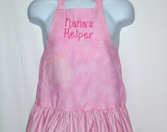Little Girls Apron, Grammy's, Nana Helper, Grandma, Papa, Mommy, Auntie, Oma, Memere, No Shipping Charge, Ready To Ship TODAY AGFT 060