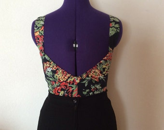 Vintage extreme low cut back flower fabric top. Super sexy.