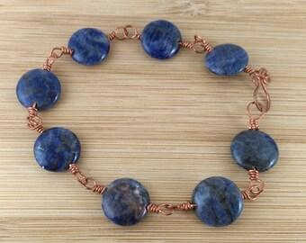 Navy Blue Bracelet.  Blue Gemstone Coin Bracelet. Oxidized Copper Wire Wrapped Bracelet. Sodalite and Copper Bracelet. Navy Stone Bracelet.