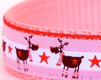 Winter Deer Dog Collar, Pink Pet Collar, Holiday Christmas Collar, Reindeer Dog Collar