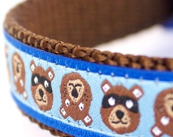 Brown Bear Dog Collar, Adjustable Ribbon Pet Collar, Blue, Woodland Friends
