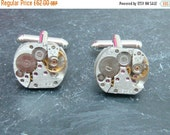 ON SALE Steampunk Cufflinks with vintage watch movements