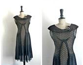 Black Cocktail Dress Vintage 1950s/1960s - Size S/M