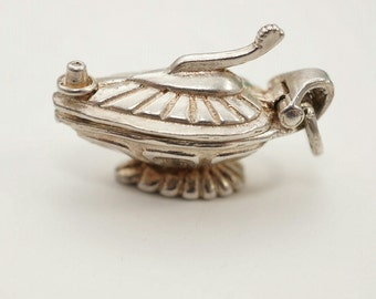 Vintage Sterling Genie in a Lamp Charm - Opens to Genie