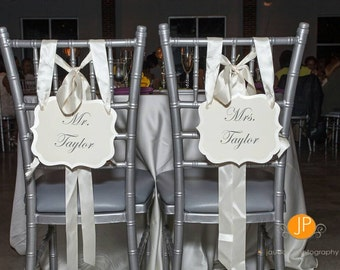 Mr. and Mrs. Wedding Chair Signs Personalized with the Newly Married Couple's Surname  Head Table