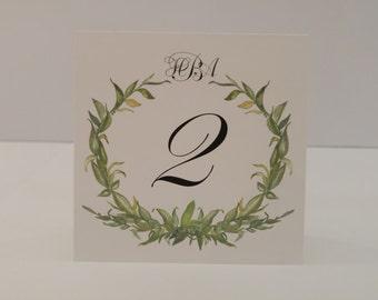 Wedding Table Number Tented  Laurel Wreath Design with Bride and Groom Monogram