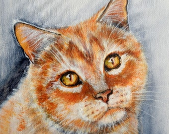 """Custom Portrait closeup portrait  Traditional Style on Canvas 7.9"""" """" Cat"""" MADE to ORDER Art  Animals Pets  """"CATS """""""