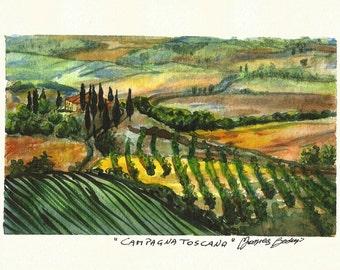 "Original ART Painting Original Watercolor Italian Landscape ""TUSCANY"" Italy Italian Landscape & Scenic"