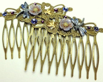 Beautiful Lavender Flowers, Dragonflies, Brass Bees Hair Combs, Vintage Style, Hair Accessories,Flower Girl,Brides maid, Prom Hair, OOAK