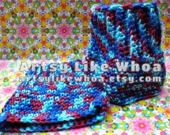 Dark Blue Light Blue Dark Red Crocheted Boot Cuffs | Vegan Friendly Yarn | Stretchy Boot Toppers Crochet Fall or Winter READY TO SHIP