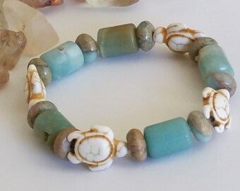 Modern Tribal Natural Gemstone Ocean Jasper Turtle Bracelet Wrist Adornment