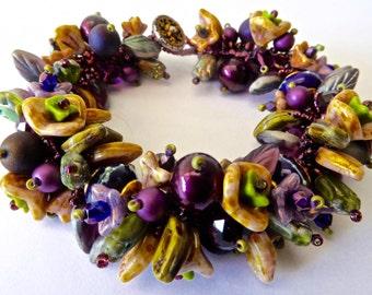 New Artisian Garden Bracelet Kit in Purples, Gold and Greens with SRA Sarah Kloppings Handmade Beads