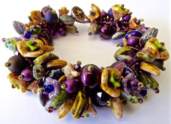 New Artisian Garden Bracelet Kit in Purples, Gold and Greens with SRA Sarah Kloppings Handmade Beads