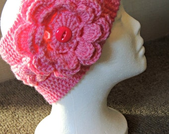 Pink HandKnit Headband With Flower / Ready To Ship / Teen To Adult