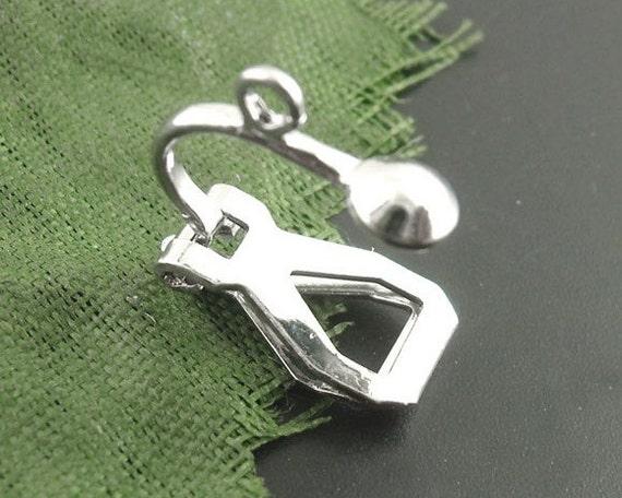 30pcs Silver Clip on Earring Hooks - Dark Silver Dangle Earring Findings - Wholesale Clip On Hooks -DIY Clipon Ear Hooks - Loop Drop B22