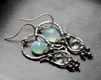 Copper wire work earrings, aqua blue chalcedony, beaded, oxidized copper, quartz crystal, dangle, drop earrings, wire wrapped, Mimi Michele