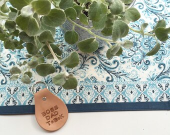 Personalized hand stamped leather key fob made to order custom