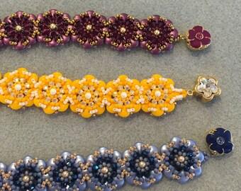 Kit and PATTERN Pocket full of Posies Flower Bracelet 2 hole CzechMate 2 hole lentil beads