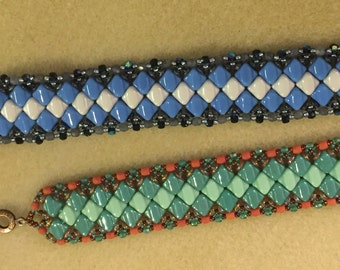 Kit and PATTERN Side Winder Tutorial cuff Silky beads cuff