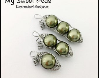 Sweet Pea Pods - Glass pearl beads represent your Children or entire FAMILY...NO necklace, PENDANT Only!
