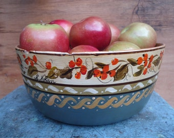 Vintage Hand Painted and Signed Wooden Bowl