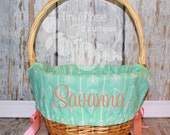 Easter Basket Liner- Mint Arrow, Girl Easter Basket Liner, Comes Personalized