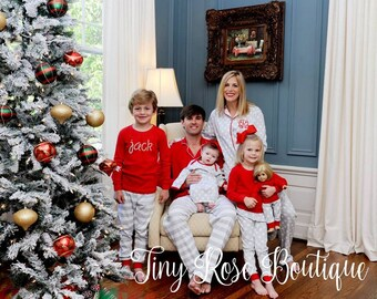 Adult Christmas Pajamas, Personalized Matching Holiday PJs  - PRE ORDER 3- Monogram Included