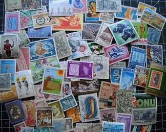 75 World Vintage Postage Stamps for crafting collage cards altered art scrapbooks decoupage history philately stamp collecting 18b