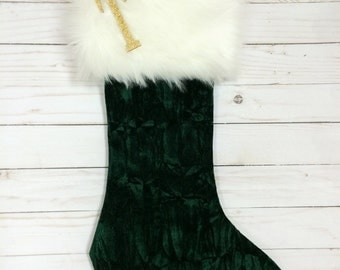 Green Christmas Stocking, Personalized Christmas Stocking, Green Velvet Christmas Stocking, Sparkle Stocking, Green Sparkle Stocking