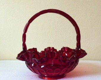 Vintage Fenton Ruffle Basket Ruby Red Thumbprint Pattern Fabulius Candy Dish Brides Basket