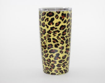 Yeti/HOGG  Hydro Dipped Yellow Cheetah - 10oz lowball, 12oz colster, 20 and 30oz cup, 18, 36, and 64oz  bottle, 9oz wine