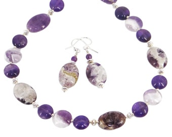 Amethyst and Amethyst Calcite Purple White Sterling Silver Hill Tribe Silver Necklace Earrings Set