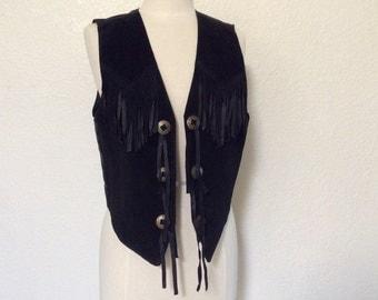 Vintage Black Suede Vest / Real Leather Vest / Conchos & Fringe - Medium