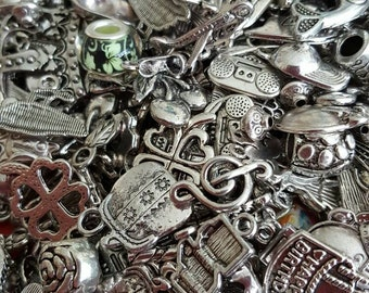 Silver Charm Mix, Charm and Bead Mix, 50 Charms, Mixed, Silver Tone, UK Seller, random mix, bargain price while stocks last