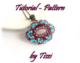 Beading pattern, tutorial for beaded pendant Effi, PDF instructions, step by step, raw beading tutorial