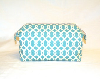 new Super Sized Make-Up Travel Bag in Jade and Cream Lattice Print