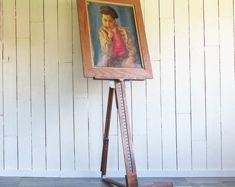 Large Vintage Wood and Steel Painter's Easel - Adjustable & Portable