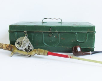 "Mid Century Green Metal Tackle Box - Toolbox ""Light Distressed Patina"""