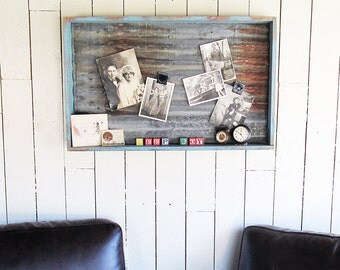 "Old Wooden Drawer Upcycled to Magnet Board with Tin Barn Roofing ""Fun Farmhouse Chic or Shabby Wedding Piece"""
