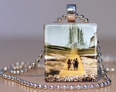 Yellow Brick Road scene from the Wizard of Oz movie on a Pendant Made from an Upcycled Scrabble Tile