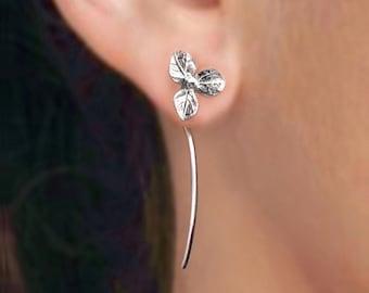 hydrangea flower earrings sterling silver earrings jewelry dangle earrings cute small stud earrings long stem earrings unique Threader E-097