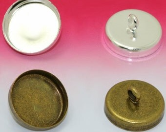 50 Blank Button Base- Brass Silver Plated/ Antique Bronzed Button W/ 12m Round Bezel Setting Wholesale