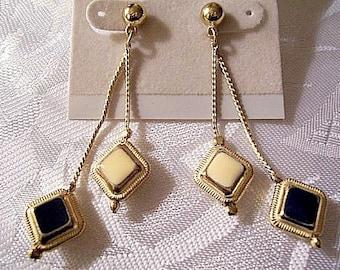 Blue Beige Pierced Earrings Vintage Dangle Link Chain Gold Tone