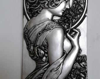 Art nouveau mucha style wall hanging plaque