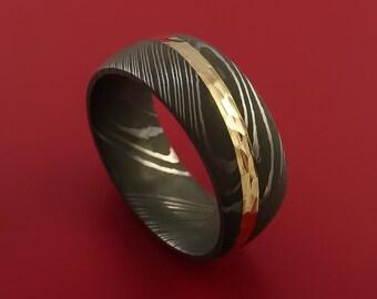 Damascus Steel Diagonal 14K Yellow Gold Ring Wedding Band Custom Made