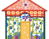 Country House 4 Applique Machine Embroidery Design Pattern-INSTANT DOWNLOAD