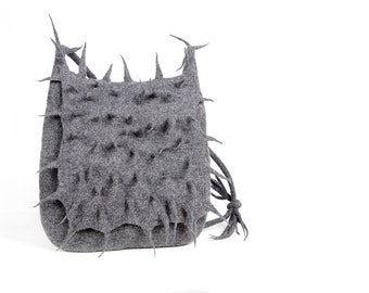 Felted grey cactus messenger felt handbag wool bag grass Terrific Fashion Regina Doseth handmade Lithuania EU