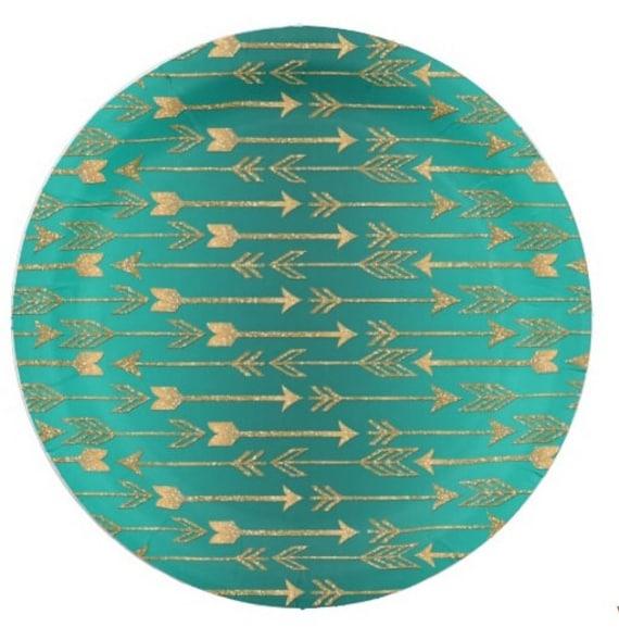 8 GOLD ARROWS Paper Plates / Dark Teal Green Glitter Golden Arrow ...