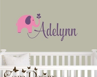 Personalized Name With Elephant, Custom Vinyl wall decals stickers, nursery, kids & teens room, removable decals stickers