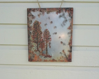 Rusty Metal Magnet Board, rusted distressed finish, handpainted on sheet metal  with 3 trees in fall colors, rusty bolts, jute twine hanger